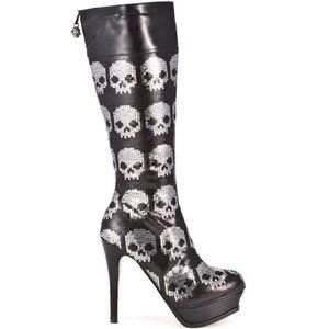 Iron Fist Digi Skull Sequin Boots with box Sz 8/39